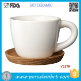 Ceramic Espresso White Cup with Wooden Plate
