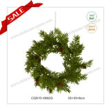 14′′ Plastic Artificial Green Christmas Wreath Christmas Glass Ornaments