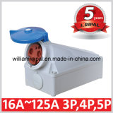 IP67 125A 2p+E 230V Industrial Wall Mounted Socket