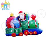 Inflatable Santa Claus Train Toy Christmas LED Decorations Outdoor