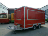 Multifunction Red Food Trailer with Dimond Plates