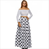 Polka Dots Floral High-Waist Elastic Pleated Fashion A-Line Long Skirt