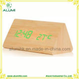 LED Clock Table Wooden Alarm Clock for Hotel Temperature Display