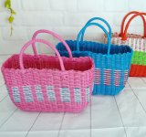 Factory Supply Pure Handmade Portable Plastic Woven Basket, Storage Basket, Shopping Basket, Bath Basket