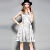 Silver Gray Sexy Knee Length Women Slip Evening Dress