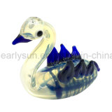 Glass Write Swan Goose Hand Pipe with W Wings and Blue Stripes (ES-HP-149)