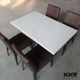 4 People Acrylic Solid Surface Dining Table White (T170901)
