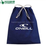 Custom Blue Cotton Drawstring Bag Printed String Gift Pouch Carrier