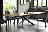 New Dining Room Furniture Iron Legs Wooden Extendable Dining Table (NK-DTB053)