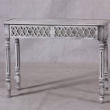 Antique Whitewash Mirrored Wooden Console Table for Home Furniture