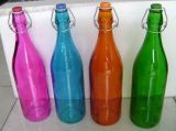 Colored Wine Bottle With Swing Top, Glass Bottle