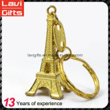 Promotion Gift Custom 3D Metal Gold Eiffel Tower Souvenir Key Chain