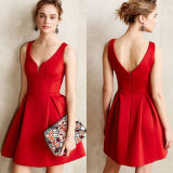 Short Red Party Formal Cocktail Dress, Office Lady Dress (A899)
