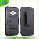 Black Hard Plastic Silicone Armor Holster Combo Case for Samsung J1 Mini