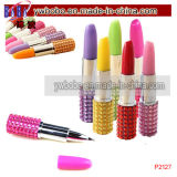 Lipstick Shape Crystal Rhinestone Ballpoint Pen Ballpen Pen Gifts (P2127)