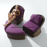 New Design Comfortable Outdoor Garden Furniture Daybed & Lounge Sofa with Ottoman (YT895)