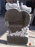 Carved Bird Granite Headstone / Heart Shape Gravestone