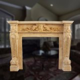 Good Quality Yellow Marble Fireplace T-6874