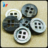 Custom Concave Logo Round Nature Shell Button with Square Hole