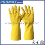 45g Flocked Waterproof Yellow Household Latex Rubber Gloves with Ce Certificate