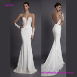 Hot Open Back Deep V Neck Wedding Gown with Chapel Train