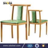 Modern Wood Dining Chair, European Faux Leather Dining Room Arm Chair