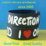 Custom 1 Inch Debossed Color Filled Silicone Wristband