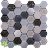 White and Black Glass Iridescent Tiles Mosaic (TG-OWD-562)