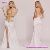 The Sexy Slit Beaded Evening Dress with Crystals Adorn The Top