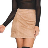 High Waist Pencil Skirt Sexy Skirt Women Suede Skirt Bodycon Short Mini Skirt