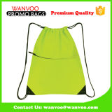 190t Polyester Ball Packing Drawstring Backpack with Zipper Pocket