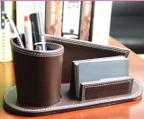 Brown Leather Desk Pen Holder with Card Base