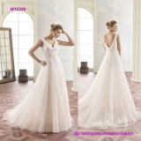 V Back Pleated Chiffon A-Line Wedding Dress with Decorative Lace at The Waist