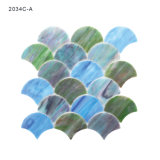 Iridescent Blue Green Stained Glass Mosaic Tile for Backsplash Kitchen