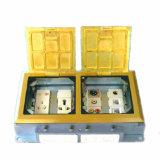 245*135mm Rectangle Golden Double Gang Open Type Floor Socket