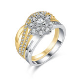 New Design Two Tone Plated Costume Fashion Jewelry Clear CZ Finger Ring