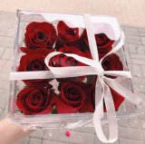 Acrylic Flower Delivery Box with Ribbon Packaging Supplies