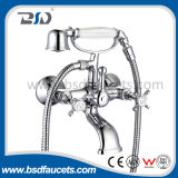 Baisida Cheaper Price Luxury Dual Handles Brass Wall Mounted Bath Shower Faucets with Brass Handset