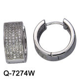 New Designs 925 Sterling Silver Micro Setting Hoop Huggie