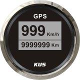 52mm GPS Velometer, Speedo for GPS, Digital GPS Speedometer Black Faceplate 316 Staninless Steel Bezel Car Truck (km/h)