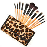 12 PCS Cosmetics Makeup Brush with Roll up Leopard Bag