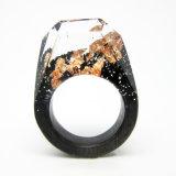 Hanmade Custom Blackwood Ring, Resin Rose Gold Foiled Ring