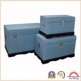 Home Furniture Accent Decorative Large Curved Linen Trunk- Blue