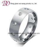 Simple Design Matte Silver Steel Ring CZ Zircon Stone Ring