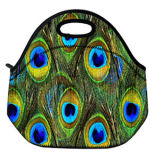 Peacock Pattern Insulated Neoprene Lunch Bag for Kids/Women