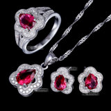 Solid 925 Sterling Silver Jewelry Set with Ruby Stone