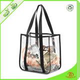 Clear Tote Bags PVC Beach Tote Bag with Black Webbing Handle Bag