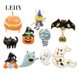 Enamel Pumpkin Bat Handsome Man Halloween Series Gold-Plated Brooches Jewelry