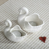 Swan Shped White Ceramic Candle Holder (CC-01)