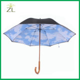 Custom Logo Printed 2 Layer Wooden Handle Walking Stick Pole Sky Umbrella Supplier in China